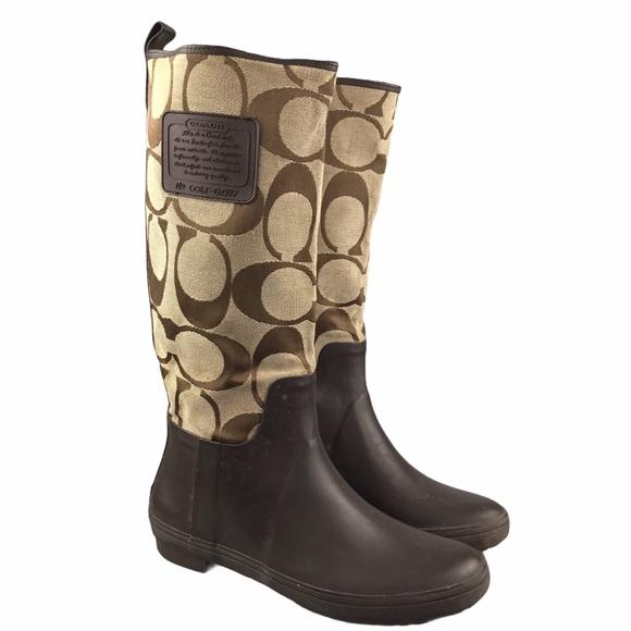 Coach Paige Monogram Jacquard Print Rain Boots 8